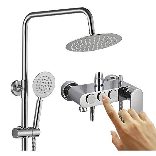 XSGDMN Badezimmer Luxury Rain Mixer Duschset, Duschmischer-Set mit Regenfall-Duschkopf, Handdusche und Adjustable Slide Bar für Zuhause (Bar Slide Duschkopf Mit)