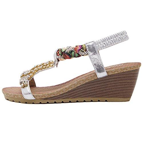 Oasap Women's Bohemian Rhinestone Open Toe Wedge Heels Sandals silver