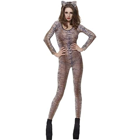 Womens Sexy Leopard Tiger Zebra Camo Lace Dance Catsuit Bodystocking