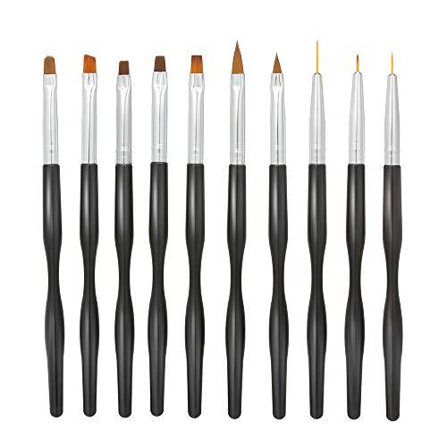 Anself Nagelpinsel-Set, 10 Stück, professionelle Nagelpinsel-Set, für Nageldesigns, Acryl-Gel Nail Art Pinsel (Acryl-pinsel-set Nail)