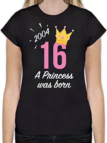 ShirtracerGeburtstag - 16 Geburtstag Mädchen Princess 2004  - L191 - Tailliertes Tshirt für Damen und Frauen T-Shirt, Schwarz 01 Schwarz, M
