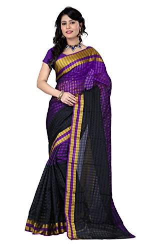 SUNSHINE Purple Cotton Silk Saree With Golden Border( New Arrival Latest Best Design Beautiful Saree Material Collection For Women and Girl Party wear Festival wear Special Function Events Wear In Low Price With Todays Special Offer with Fancy Designer Blouse and Bollywood Collection 2017 )  available at amazon for Rs.307