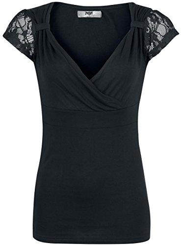 Black Premium by EMP Lace V-Neck Maglia donna nero XS