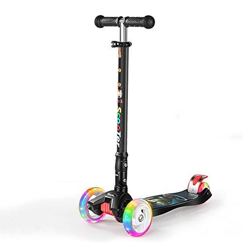 Youngtrly Blitz-Gelee-doppelte hintere Räder Vierrad-Roller-justierbare Höhe faltender stabiler u. Sicherheits-Tritt-Roller-Mager-/Neigungs-Lenkungs-T-Stange Bobbi Brett für - Gel Räder Skateboard