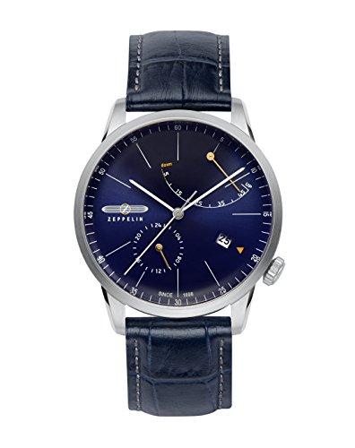 Zeppelin 7366-3 Montre avec bracelet en cuir pour homme Bleu foncé