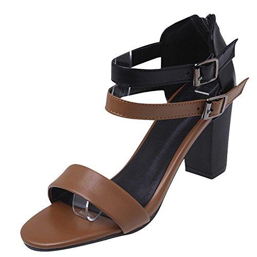 Mee Shoes Damen Reißverschluss high heels Knöchelriemchen Sandalen Braun