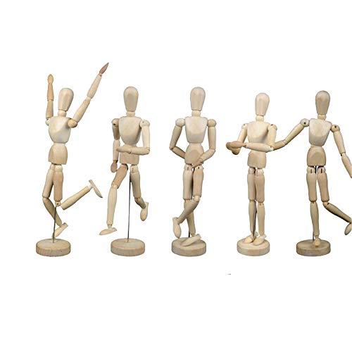 Schaufensterpuppe aus Holz, voll gelenkt, bewegliche Mannequin zum Skizzieren, Malen, Künstler, Cartoon-Figuren Action - DIY Puppe 12 cm (Action-figur-puppen 12 Cm)