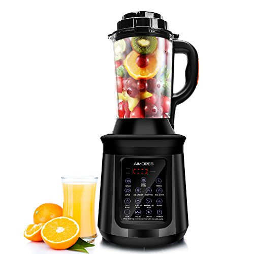 AIMORES Standmixer mit Kochfunktion Küchenmixer Smoothie mixer Soup maker Suppenbereiter, 28000 U/min, 8 Vorprogramme, 1.8L Glaskrug, LED Touchscreen, 8 Edelstahlklingen, BPA Frei, CE/LFGB/RoHS
