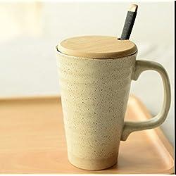 WBY Taza tazas creativas simple gres gran capacidad cristal vitrocerámica café con cuchara tapa,A