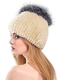 VEMOLLA Cappello Invernale per Donne in Pelliccia di Coniglio Rex con PON  PON in Pelliccia di 68ed15800a3e