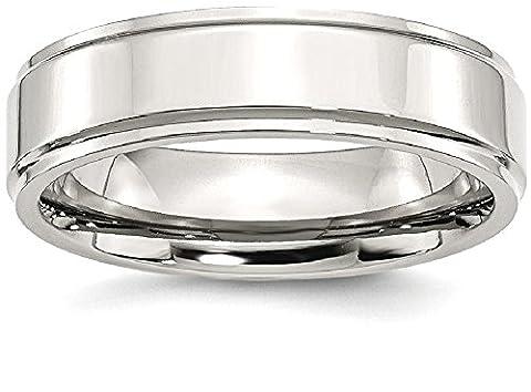 Stainless Steel Ridged Edge 6mm Polished Wedding Ring Band