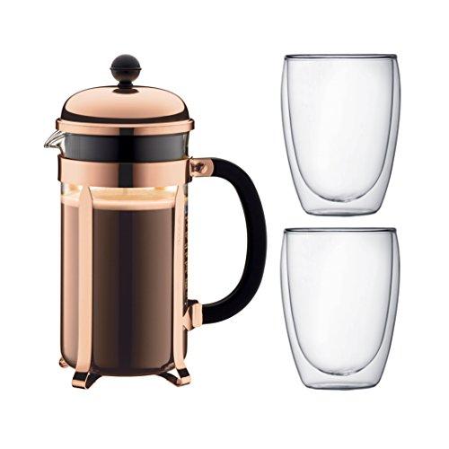 Bodum K1928-18-1 Chambord Set Kaffebereiter 8 Tassen mit 2 Gläser 35 cl Doppelwand Pavina, Chrom, 1...