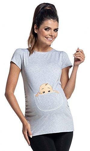 Zeta Ville - Women's Maternity T-Shirt Shirt Top Funny Baby Peeking Print - 501c (Light Grey Melange, UK 8/10, S)
