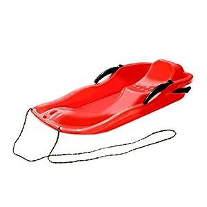 Pudincoco Outdoor Sports Kunststoff Ski Boards Rodelschlitten Schnee Gras Sand Board Ski Pad Snowboard Mit Seil Für Doppel Personen (rot)