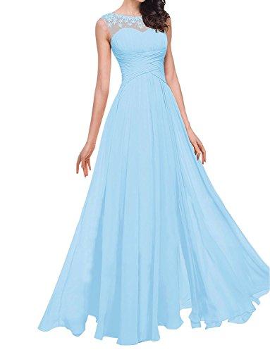 Aurora dresses Damen Abendkleider Lang Partykleider Transparenter Ausschnitt Festkleider Ballkleider Elegant Brautjungfer Kleider(Blau,44) (Aurora Blau Kleid)