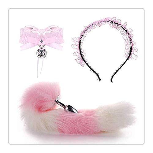 Z-one Haarreif mit Katzenohren aus Metall, Fuchs-Anale-Schwanz mit Halsband, kleine Glocke, Cosplay-Set