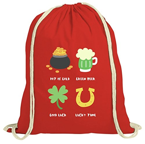 Saint Patrick's Day St. Patricks Day natur Rucksack Turnbeutel Lucky Paddy Rot Natur