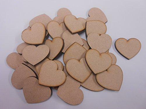 PixieBitz 30mm Heart MDF Wooden Blank Embellishment - Decoration - Pack of 30