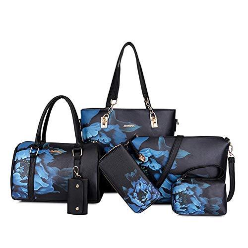 XMYL Damen PU Handtasche,3D Mode Drucken Umhängetasche Brieftasche 6-Teiliges Set,D