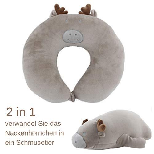 eSPee Elch Kinder Nackenhörnchen Schmusetier 2 in 1 Reisekissen verwandelbar Kuscheltier weich flauschig Nackenstütze Reisehörnchen Nackenkissen Stützfunktion -
