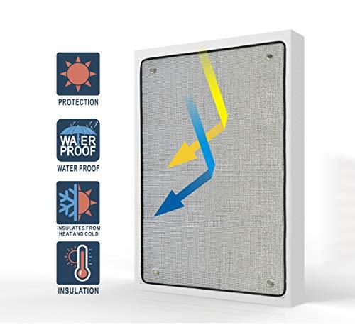 Liveinu Estor Térmico con Ventosas Cortina Opaca Portátil para Ventanas y Claraboyas Protección UV Parasol Parabrisas De Coche Aislamiento de Sonido Plata 125x125cm