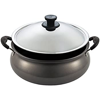 Pigeon by Stovekraft Non-Stick Gravy Pot with Lid, 6 Litres,Silver/Black
