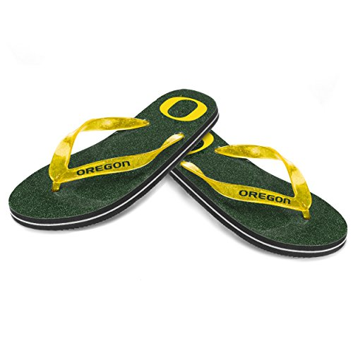 NCAA Oregon Ducks Damen Tanga Glitzer Flip Flop, grün, mittel