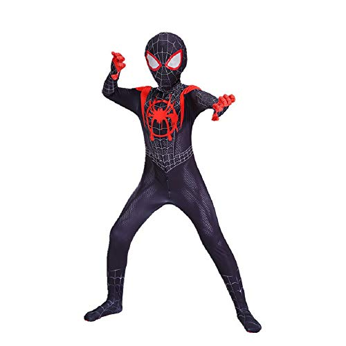 Diudiul Kids Superheld Spiderman Kostüme für Kinder Action Dress Ups und Zubehör Party Cosplay Kostüm (XL(140-150cm), Schwarz-Kind) (Spiderman Kostüme Schwarz)