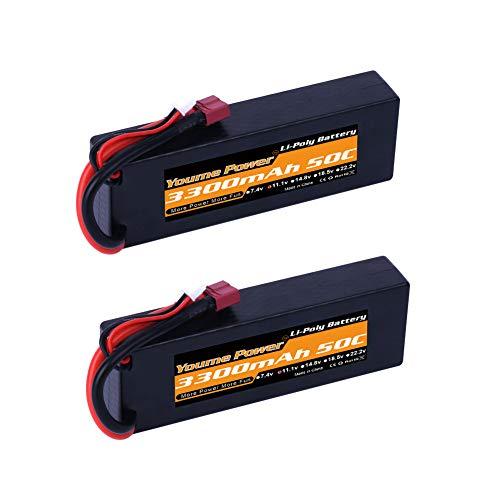 Lipo 3S, 11.1V 3300mah Lipo-Batterie-Koffer 50C Deans T-Anschluss für RC Traxxas Autos Boat Truck Buggy Truggy (2 Packs)
