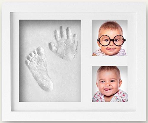 Baby Hand- und Fußabdruckset mit Bilderrahmen, Holz-Fotorahmen mit schadstofffreiem Lehm, das perfekte Geschenk zur Geburt, als Erinnerung für frische Eltern - 90 TAGE-GELD-ZURÜCK (weiß)