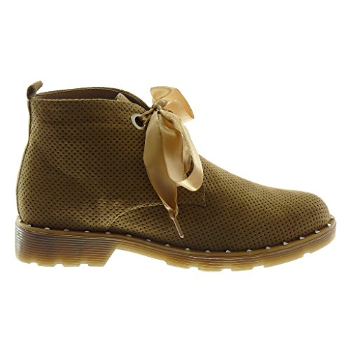 Talon Perforee Derbies Angkorly Boots Lacet 3 Mode Femme Bloc