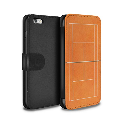 STUFF4 PU-Leder Hülle/Case/Tasche/Cover für Apple iPhone 6S+/Plus / Grün Sandplatz Muster / Tennis Plätze Kollektion Orange Sandplatz