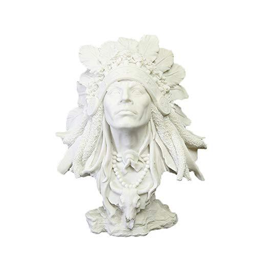LPRWEC Weiß Harz Kreative Skulptur Indischer Mann Modell Handmade Abstrakte Statue Home Office Dekor Raum Kabinett Handwerk Kunst Ornamente Retro Dekorative Skulptur Langlebige Skulptur Geschenk