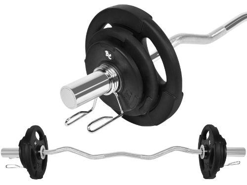 Oly. Gummi-Gripper Hantel-Set 26,5Kg (1 x Oly. SZ-Hantelstange 120cm, 2x1,25, 2x2,5 und 2x5Kg Hantelscheiben) Gewichte