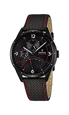 Festina Men's Quartz Watch with Black Dial Analogue Display and Black Leather Strap F16849/2