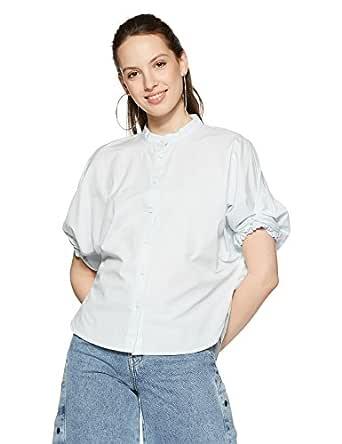 VERO MODA Women's Plain Regular Fit Shirt (1993607010_10202273_Ballad Blue_S)
