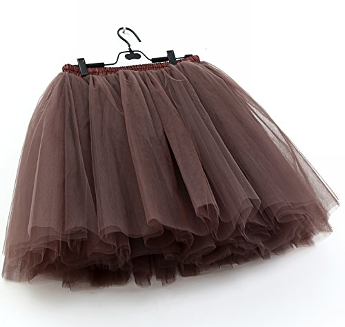 SCFL Donna Tutu Gonna Petticoat Underskirt Balletto Gonna Slip Half Cioccolato