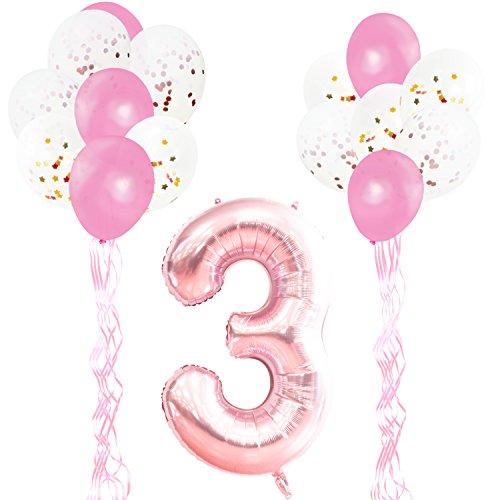 KUNGYO Decoraciones de Fiesta de Cumpleaños para Adultos y Niños, Oro Rosa Gigante Número 3 y Estrella de Helio Globos, Cintas, Globos de Confeti de Látex- Rose Gold Suministros de Fiesta