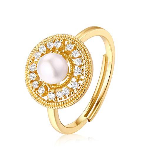 ainebleau Renaissance Gericht Walzer Licht Schmuck Nische Design Vintage Gericht Süßwasser Perle Ring Ideal Land 925 Sterling Silber Halskette Ring ()