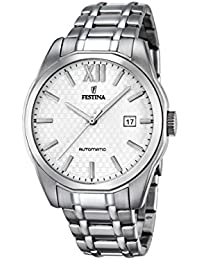 Festina Men's Automatic Watch with White Dial Analogue Display and Silver Stainless Steel Bracelet F16884/2