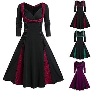 Floweworld Damen Party Kleider Mode Langarm V-Ausschnitt Verband Spitze Patchwork Knielange A-Linien Kleider Vintage…
