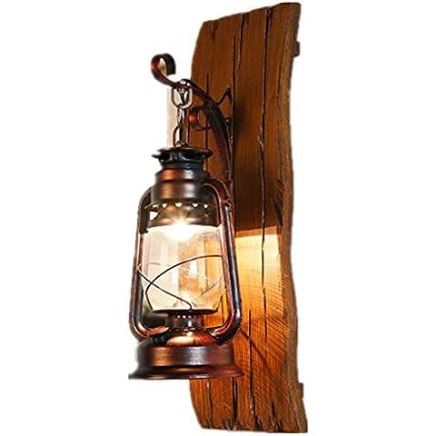 FWEF vidrio Dood creativo pared lámpara país madera Lron Kerosene lámpara faroles creativa iluminación madera talladas a mano antiguos lámparas aplicable espacio 5-10 metros cuadrados (19 * 23 * 55