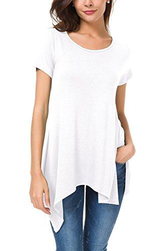 Urban GoCo Donna Casual Tunica Tops T-Shirt Comoda Basic Orlo Irregolare Camicia Maglietta Bianco