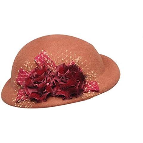 WE&ZHE femminile femminile Beret Hat Trilby lana il cappello di feltro con stile Fiore Trim Retro britannico caldo Dome In autunno e in inverno , 1#