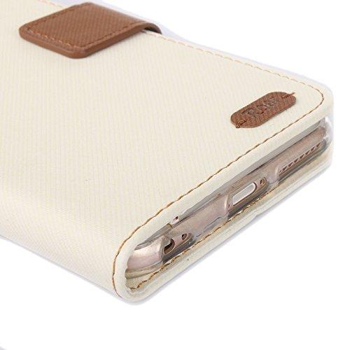 Wkae Case Cover Roar Streifen Textur Ledertasche mit Halter & Karten-Slot & Wallet für iPhone 6 Plus & 6S plus ( Color : White ) White