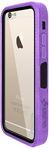 Amzer Crusta edge2edge Rugged Shell Case Cover mit Tempered Glas und Holster für iPhone 6 Plus silber/gold _ P violett / schwarz