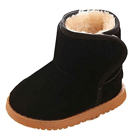 Saingace Winter Baby Child Style Cotton Boot Warm Snow Boots (Age:12-18M, Black)