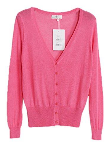 Smile YKK Cardigan Uni Manteau Transparent Manches Longue de Soleil de Beach Pour Femme Pastèque Rouge