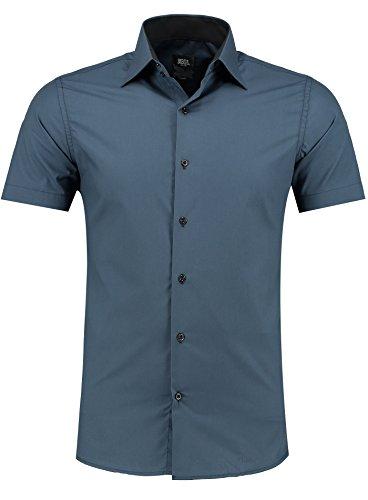 Jeel Herren-Hemd – Slim-Fit – Bügelleicht – Business, Hochzeit, Freizeit – Kurzarm-Hemd für Männer 105 Navy M