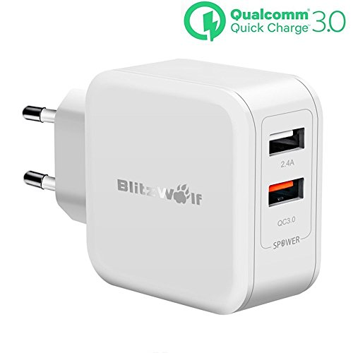 [Quick Charge 3.0] USB Ladegerät, BlitzWolf 30W 2-Port Netzteil Ladeadapter Ladestecker mit QC 3.0 Schnelle Ladefunktion & 2.4A Power3S Technologie, Wall Charger Reiseadapter für Handy, Smartphone, iPad, Kamera, MP5 / MP4 Tablet usw. - weiss
